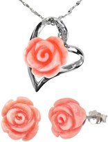 """Dahlia Red Coral Rose Heart Shaped Silver Pendant Necklace and Stud Earrings Set (18"""")"""