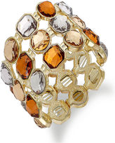 Charter Club Bracelet, Gold-Tone Multi-Color Stone Three-Row Stretch Bracelet