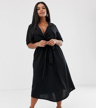 Asos DESIGN Curve midi belted shirt dress in slub-Black
