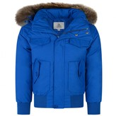 Pyrenex PyrenexBoys Sea Blue Down Padded Jami Coat With Fur Trim