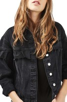 Topshop Women's Moto Frill Denim Jacket