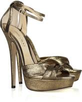 Greta lamé-covered suede sandals