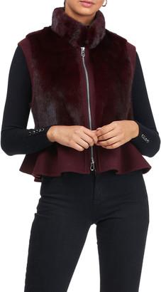 Gorski Fox Fur Vest with Wool Peplum