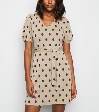 New Look Camel Spot Puff Sleeve Tunic Dress