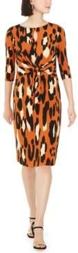 MSK Petite Leopard-Print Tie-Front Dress