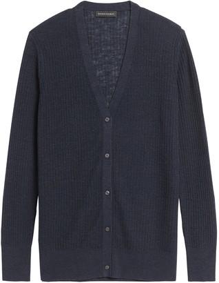 Banana Republic Petite Linen-Blend Long Cardigan Sweater