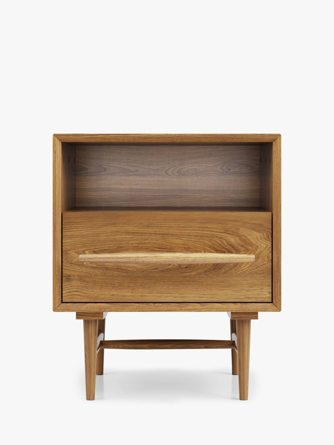 John Lewis & Partners Mid-Century Sweep Bedside Table, FSC Certified (Ash)