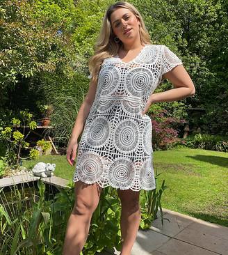 Simply Be crochet smock dress in white