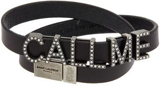 Saint Laurent Call Me Double Wrap Leather Bracelet