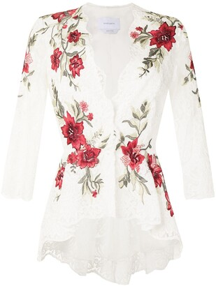 Marchesa Floral-Embroidered Fitted Blouse