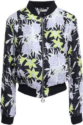 Nina Ricci Floral-print Silk-blend Cloque Bomber Jacket