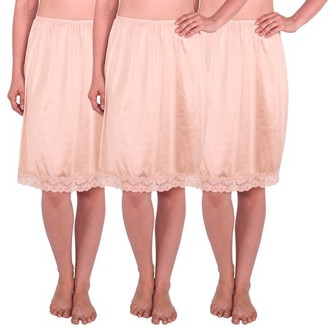 Under Moments Women's Half Slip with Lace Details, Anti- Static (Pack of 3)