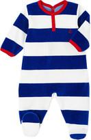 Petit Bateau Striped velour sleepsuit 3-36 months