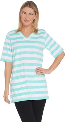 Denim & Co. Active Elbow-Sleeve Printed Knit Terry Tunic