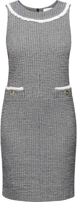 Rumour London Emilia Checked Cotton Tweed Dress with Fringed Neckline Detail