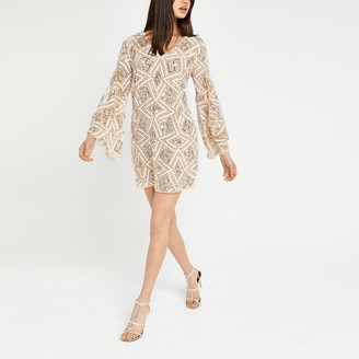 River Island Beige sequin embellished shift dress