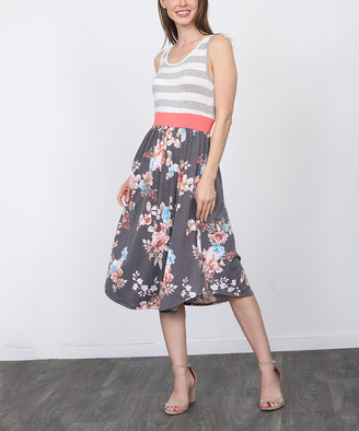 Egs By Eloges egs by eloges Women's Casual Dresses GREY - Gray & Charcoal Floral Stripe Sleeveless A-Line Dress - Women & Plus
