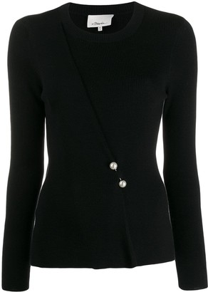 3.1 Phillip Lim Sweater With Pearl Embellished Bar Pin