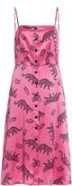 HVN Atlanta Printed Woven-Silk Knee-Length Dress