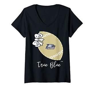 Womens Georgia Southern Eagles Football Bow - Polka Dots - Slogan V-Neck T-Shirt