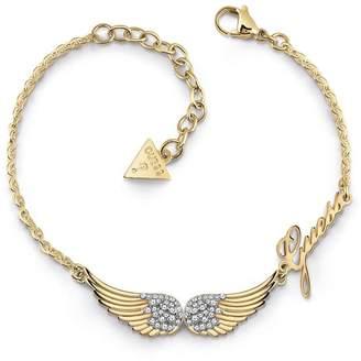 GUESS Gold Tone Angel Wings Logo Bracelet