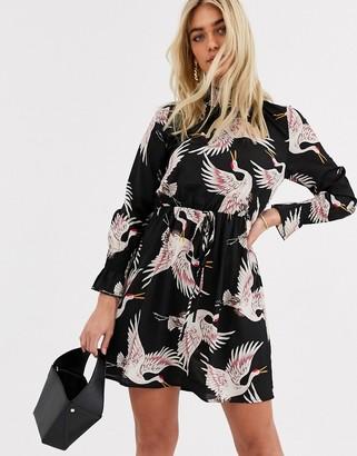 AX Paris high neck mini dress in bird print