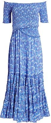 Poupette St Barth Soledad Off-Shoulder Floral Midi Dress