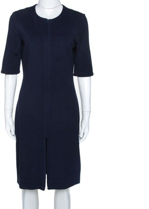 Diane von Furstenberg Navy Blue Zipper Detail Saturn Dress L