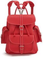 Grafea Red Hot Medium Leather Rucksack Red