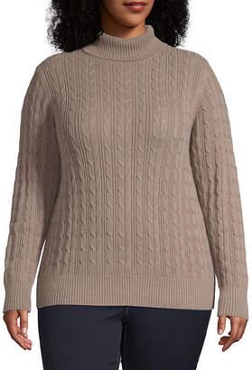 ST. JOHN'S BAY Plus Womens Turtleneck Long Sleeve Pullover Sweater