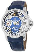Burgmeister Men's Mechanical Hand Wind Stainless Steel and Leather Casual Watch, Color:Blue (Model: BM237-103)