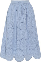 Suno Pleated broderie anglaise cotton midi skirt