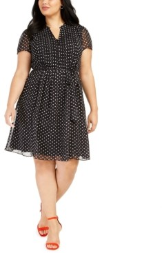 MSK Plus Size Polka Dot Shirtdress
