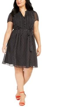 MSK Plus Size Polka Dot Shirtdress