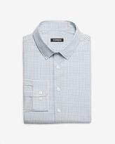 Express Slim Mini Check Print Cotton Stretch Dress Shirt