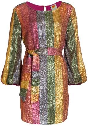 Farm Rio Rainbow Sequin Mini Dress
