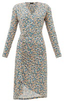 Atlein - Gathered Floral-print Jersey Wrap Dress - Womens - Blue Print