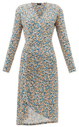 Atlein - Gathered Floral-print Jersey Wrap Dress - Blue Print
