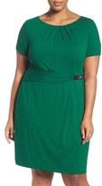 Ellen Tracy Plus Size Women's Buckle Sheath Dress