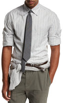 Brunello Cucinelli Striped Woven Oxford Shirt, Gray