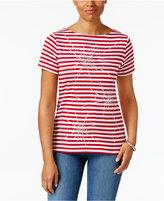 Karen Scott Studded Cotton T-Shirt, Only at Macy's