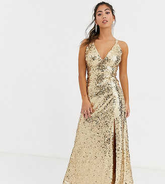 Little Mistress Petite strappy sequin maxi gown in gold