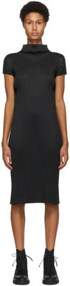Pleats Please Issey Miyake Black Pleated Mid-Length Dress