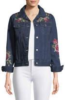 Johnny Was Desi Floral-Embroidered Denim Jacket