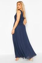 boohoo Plus V Back Chiffon Occasion Maxi Dress