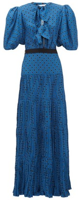 Johanna Ortiz Ancient Treasures Puff-sleeved Crepe Dress - Navy