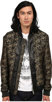 Just Cavalli Jacquard Bomber w/ Leather Trim