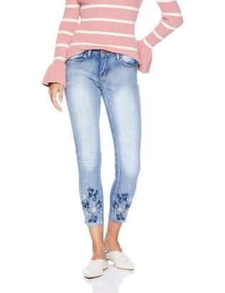 V.I.P.Jeans V.I.P.JEANS Women's Flower Embroidery Tight Slim Fitting Junior Sizes Varsity Blue Wash