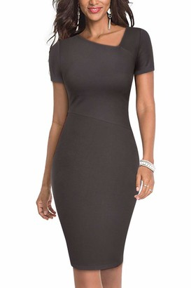 Moyabo Vintage Dresses for Women Short Sleeve Slim Fit Business Bodycon Pencil Dress Grey XX-Large