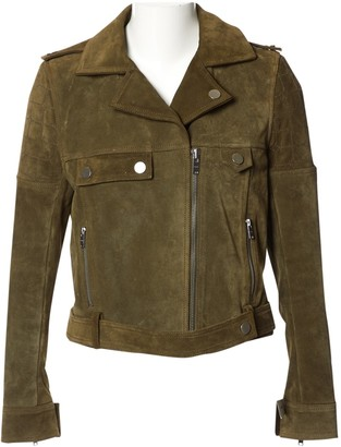 Courreges Khaki Suede Leather Jacket for Women